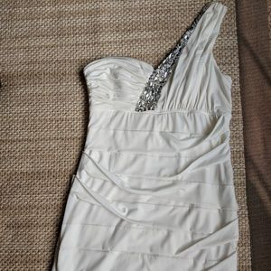 Dresses & Skirts - White One-Shoulder Jeweled Party Formal Dress